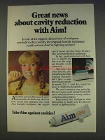 1977 Aim Toothpaste Ad - Great News Cavity Reduction