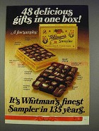 1977 Whitman's Sampler Ad - 48 Delicious Gifts One Box