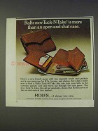 1977 Rolfs Tuck-N-Take Purse Ad - Open and Shut Case