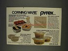 1977 Corning and Pyrex Ware Ad - Wildflower Hostess Set
