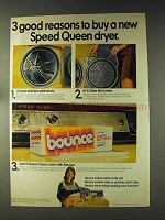 1976 Bounce Dryer Sheets Ad - Buy a Speed Queen Dryer