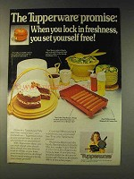 1976 Tupperware Ad - Hot Dog Keeper, Cake Taker