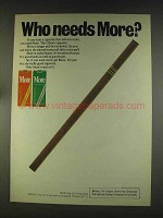 1976 More Cigarettes Ad - Who Needs More?