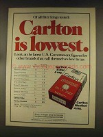1976 Carlton Cigarettes Ad - Is Lowest