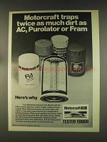 1976 Ford Motorcraft Oil Filters Ad - Traps Dirt