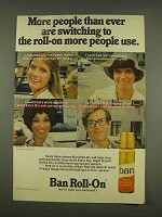 1976 Ban Roll-On Deodorant Ad - More Are Switching