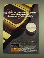 1976 Duracell Pacemaker Watch Batteries Ad - The Name
