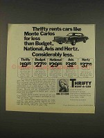 1976 Thrifty Rent-a-car Ad - Monte Carlos for Less
