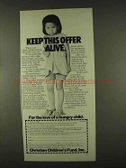 1978 Christian Children's Fund Ad - Keep Offer Alive