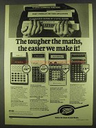 1978 Boots Calculator Ad - Casio FX-29, TI SR 51-II