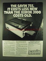 1978 Savin 755 Copier Ad - Costs Less Than the Xerox