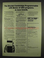 1978 Sinclair Cambridge Programmable Calculator Ad