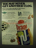 1978 Drano Drain Opener Ad - Never Another Clog