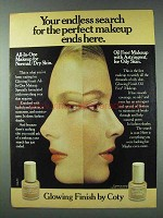 1978 Coty Glowing Finish Ad - Endless Search Ends