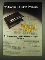 1978 Jovan Aftershave/Colognes Ad - Know Us, to Love Us