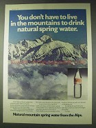 1978 Evian Water Ad - Don't Live in the Mountains