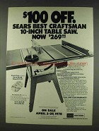 1978 Sears Craftsman 10-inch Table Saw Advertisement