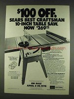 1978 Sears Craftsman 10-inch Table Saw Ad