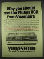 1978 Visionhire Philips VCR Ad - You Should Rent