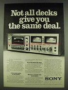 1978 Sony TC-K5 Cassette Deck Ad - Not All Same Deal