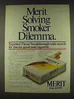 1978 Merit Cigarettes Ad - Solving Smoker Dilemma