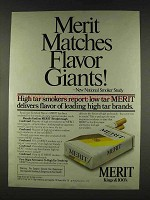 1978 Merit Cigarettes Ad - Matches Flavor Giants