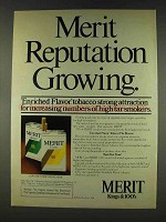 1978 Merit Cigarettes Ad - Reputation Growing