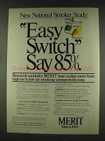 1978 Merit Cigarettes Ad - Easy Switch Say 85%