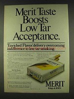 1978 Merit Cigarettes Ad - Taste Boosts Low Tar