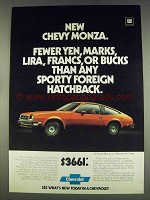 1978 Chevy Monza 2+2 Hatchback Coupe Ad - Fewer Yen