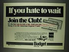 1978 Budget Rent a Car Ad - If You Hate to Wait