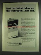1978 The Bankers Life Ad - Before You Talk to Any Agent