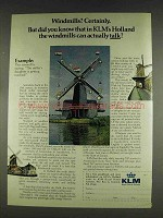 1978 KLM Royal Dutch Airlines Ad - Windmills?