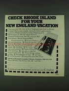 1978 Rhode Island Tourism Ad - For New England Vacation