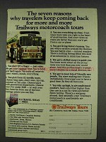 1978 Trailways Tours Bus Ad - Seven Reasons