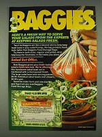 1978 Baggies Food Storage Bags Ad - Serve Salads