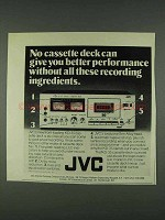 1978 JVC KD-35 Cassette Deck Ad - These Ingredients