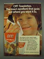 1978 Off! Towelettes Insect Repellent Ad