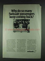 1979 Swissair Airlines Ad - Keep Coming Back