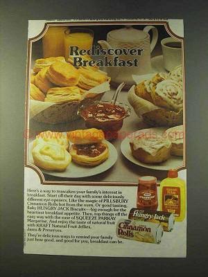 1979 Pillsbury Cinnamon Rolls Hungry Jack Biscuits Ad