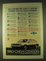 1980 Chevy Citation Ad - Offered All These Numbers