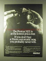 1979 Pentax ME Camera Ad - Lowest Price Ever