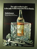 1979 Stolichnaya Vodka Ad - Only Imported From Russia
