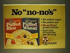 1979 Quaker Puffed Rice and Puffed Wheat Cereal Ad