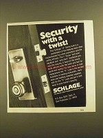 1979 Schlage H series Lock Ad - Security With a Twist