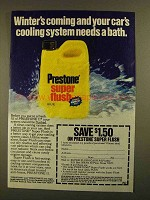 1979 Prestone Super Flush Ad - Winter's Coming