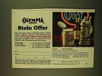 1979 Olympia Beer Ad - Stein Offer
