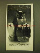 1979 Royal Copenhagen Porcelain Ad - Owls