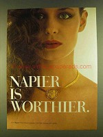 1980 Napier Fashion Jewelry Ad - Napier is Worthier
