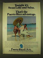 1980 Puerto Rico Tourism Ad - Swan Lake and Salsa